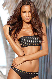 Jette Black Studded Bandeau Bikini £49