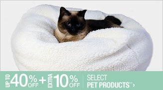 Up to 40% off + Extra 10% off Select Pet Products**