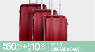 Up to 60% off + Extra 10% off Select Luggage & Bags**