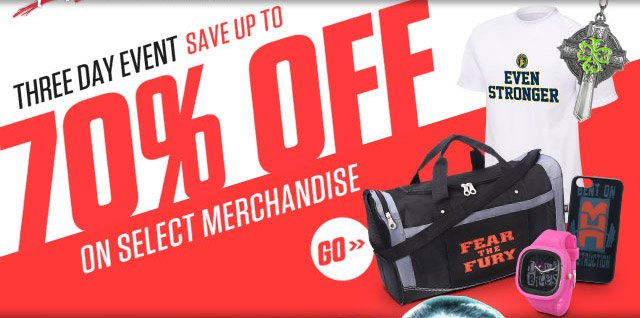 Get up to 70% off select merchandise this weekend only!