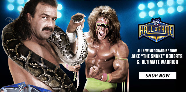 """NEW: Hall of Famers Jake """"The Snake"""" Roberts & Ultimate Warrior T-shirts"""