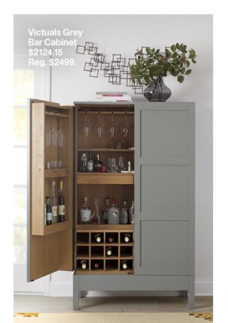 Victuals Grey Bar Cabinet, Parker Spirits Bourbon Cabinet