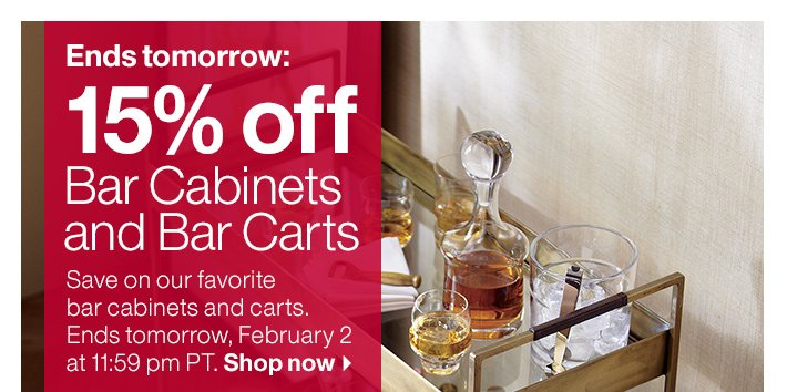 15% off Bar Cabinets and Bar Carts