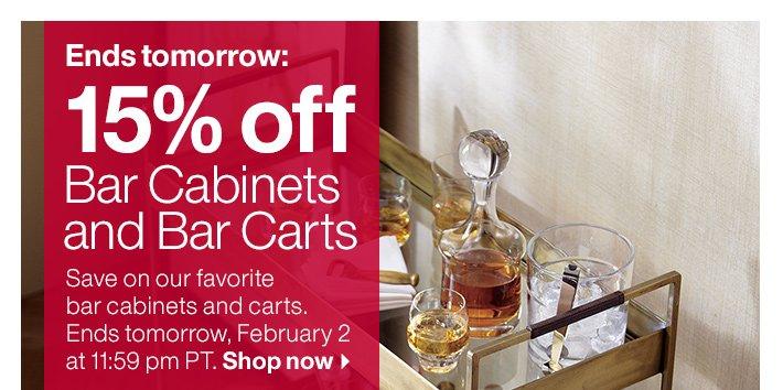 15% off Bar Cabinets and Bar Carts
