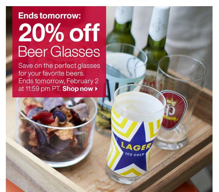 20% off Beer Glasses