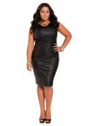 Faux Leather Seamed Sheath Dress