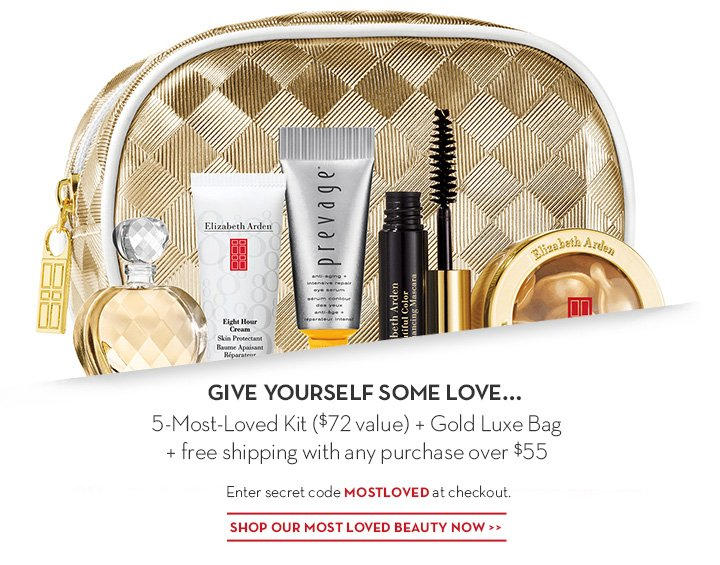 GIVE YOURSELF SOME LOVE... 5-Most-Loved Kit ($72 value) + Gold Luxe Bag + free shipping with any purchase over $55. Enter secret code MOSTLOVED at checkout. SHOP OUR MOST LOVED BEAUTY NOW.