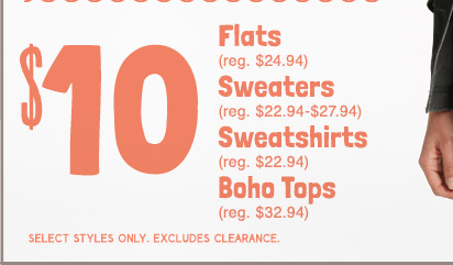 $10   Flats   Sweaters   Sweatshirts   Boho Tops