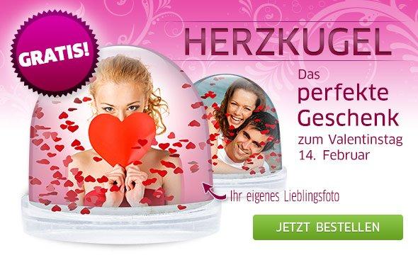 Eine Herzkugel mit Ihrem eigenen Lieblingsfoto - Das perfekte Geschenk zum Valentinstag am 14. Februar - GRATIS!*