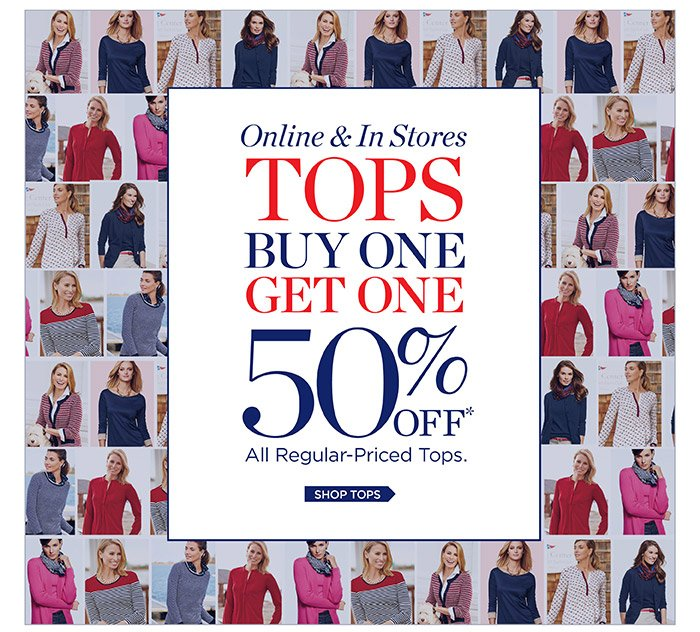 Online and in stores. Tops Buy One Get One 50% off All Regular-Priced Tops. Shop Tops.