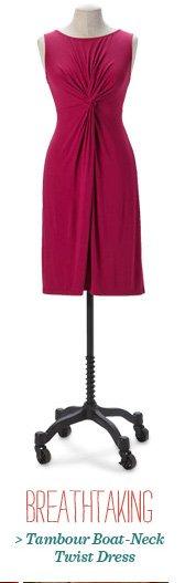 Tambour Boat-Neck Twist Dress