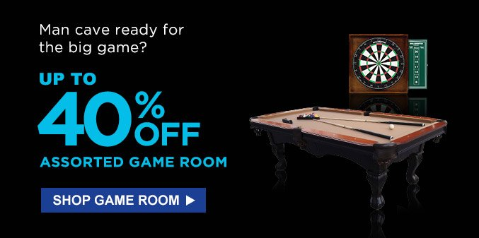 Man cave ready for the big game? Up to 40% off assorted game room | Shop game room