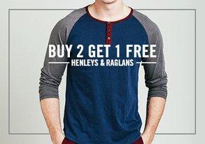 Shop Buy 2 Get 1 Free: Henleys & Raglans