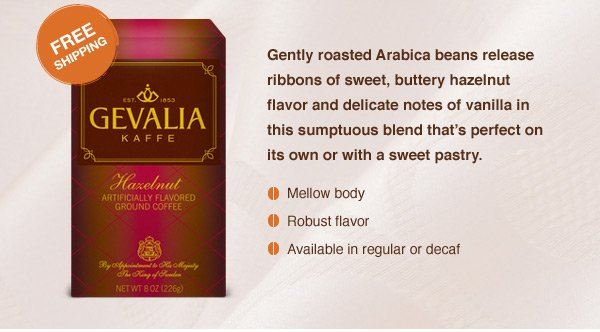 Gently roasted Arabica beans release ribbons of sweet, buttery hazelnut flavor and delicate notes of vanilla in this sumptuous blend that's perfect on its own or with a sweet pastry.  •Mellow body •Robust flavor •Available in regular or decaf.