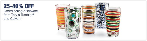 25-40% off coordinating drinkware from Tervis Tumbler® and Culver.