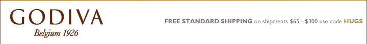 GODIVA Belgium 1926 FREE STANDARD SHIPPING on shipments $65 - $300 use code HUGS