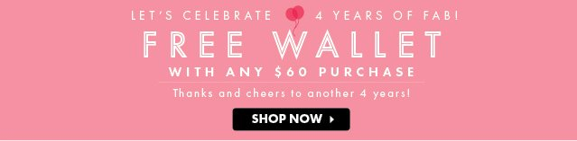 Free Wallet With Any $60 Purchase