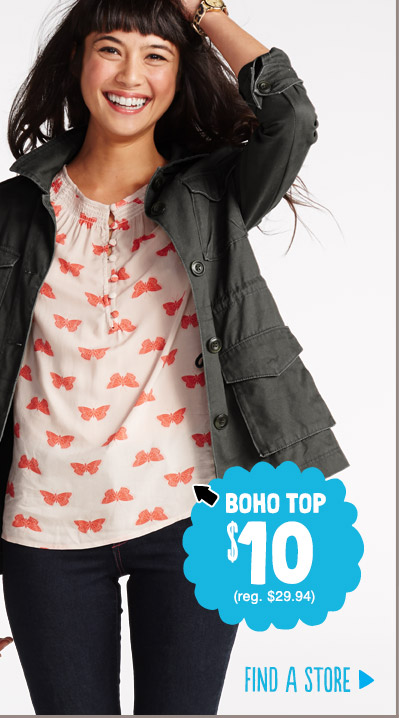 BOHO TOP $10 (reg. $29.94) | FIND A STORE