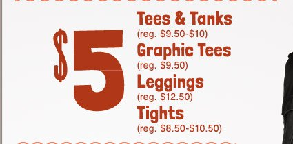 $5 Tees & Tanks | Graphic Tees | Leggings | Tights