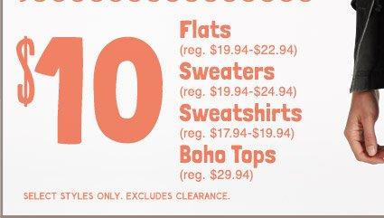 $10 | Flats | Sweaters | Sweatshirts | Boho Tops