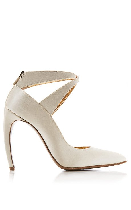 Curved-Heel Satin Pumps