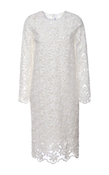 Catherine Floral-Embroidered Organza Dress
