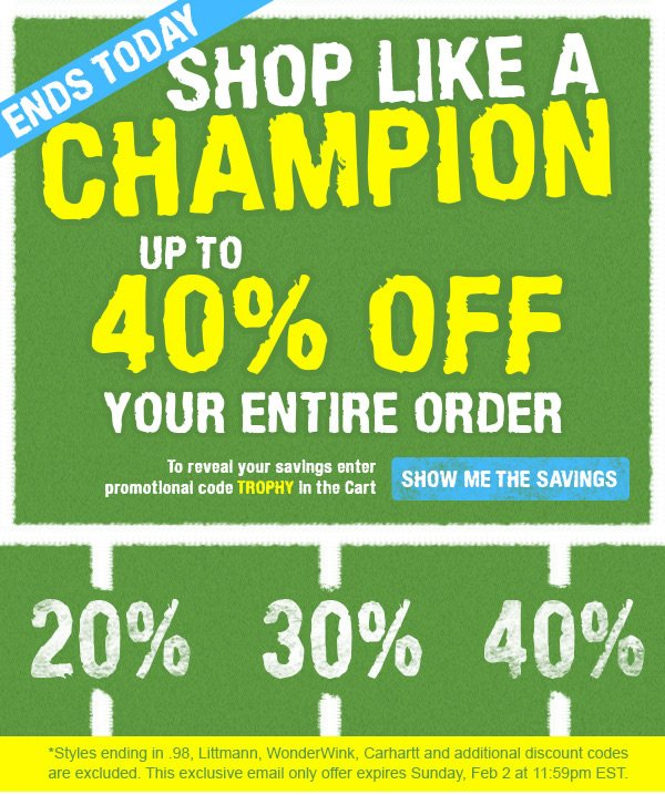 Up To 40% OFF Your Entire Order - Show me the Savings
