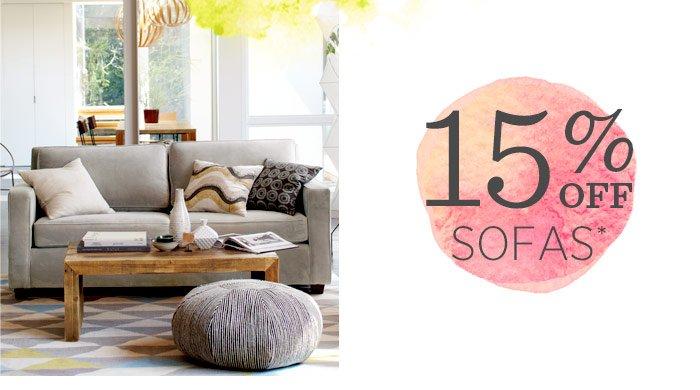 15% off sofas*