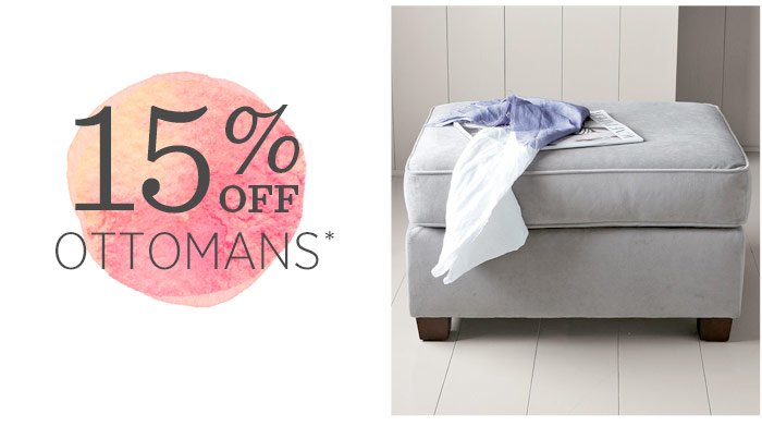 15% off ottomans*