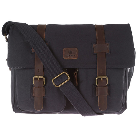 Borough Canvas and Leather Messenger Bag // Navy