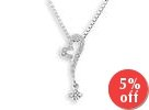 18K White Gold Heart Pave Style Diamond Accents Pendant (FREE 925 Silver Box Chain)