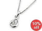 18K White Gold Droplet Solitaire Diamond Pendant (1/10 cttw) (FREE 925 Silver Box Chain)