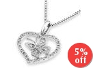18K White Gold Butterfly In The Heart Pave Style Diamond Accent Pendant (3/20 cttw) (FREE 925 Silver Box Chain)