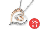 18K Rose And White Gold Double Heart Round Diamond Accents Pendant Necklace (1/5 cttw) (FREE 925 Silver Box Chain, 16
