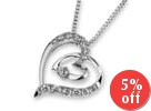 18K White Gold Double Heart Round Diamond Accents Pendant Necklace (1/5 cttw) (FREE 925 Silver Box Chain, 16