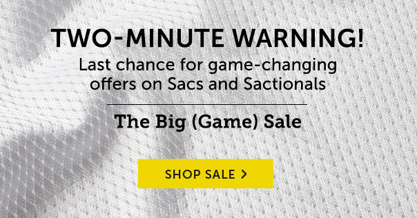 Two-Minute Warning - Last Chance For Game-Changing Offers On Sacs and Sactionals! The Big (Game) Sale - Shop Now!
