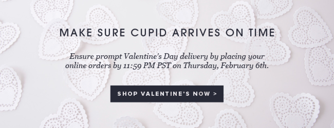 Make sure cupid arrives on time. Ensure prompt Valentine's Day delivery by placing your online orders by 11:59 PM PST on 2/6. Shop now.