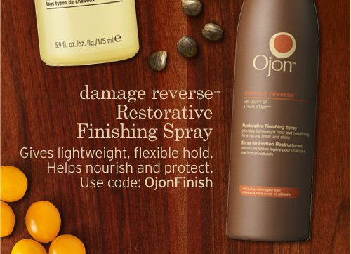 damage reverse Restorative Finishing Spray Gives lightweight  flexible hold Helps nourish and protect Use code OjonFinish