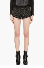 IRO Black Suede-trimmed Red Seth Shorts for women