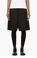 COMME DES GARÇONS Black Wide-Leg Gabardine Shorts for women