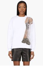 CHRISTOPHER KANE White Netting Nude embroidered CREWNECK for women