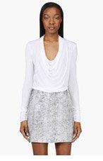 HELMUT LANG White Jersey Cowl Neck Kinetic T-Shirt for women