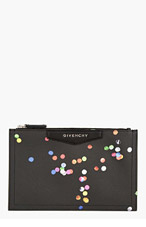 GIVENCHY Black Leather Confetti Print Zip Pouch for women