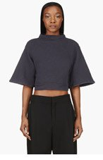 SILENT BY DAMIR DOMA Slate Blue Textured Cropped Turmin Sweater for women