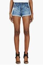 NOBODY Blue Distressed Denim Siren Shorts for women