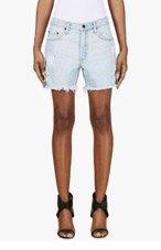 NOBODY Blue Distressed Denim Mondo Shorts for women