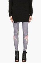 MCQ ALEXANDER MCQUEEN Black Houndstooth Floral Print Leggings for women