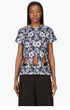 COMME DES GARÇONS Navy Floral Embroidery Print Cut-Out T-Shirt for women