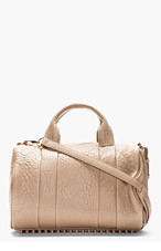 ALEXANDER WANG Latte Rocco Pebble Leather With Rose Gold Studs for women