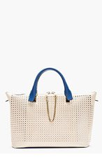 CHLOE Blue & Beige Perforated Baylee Small Tote for women